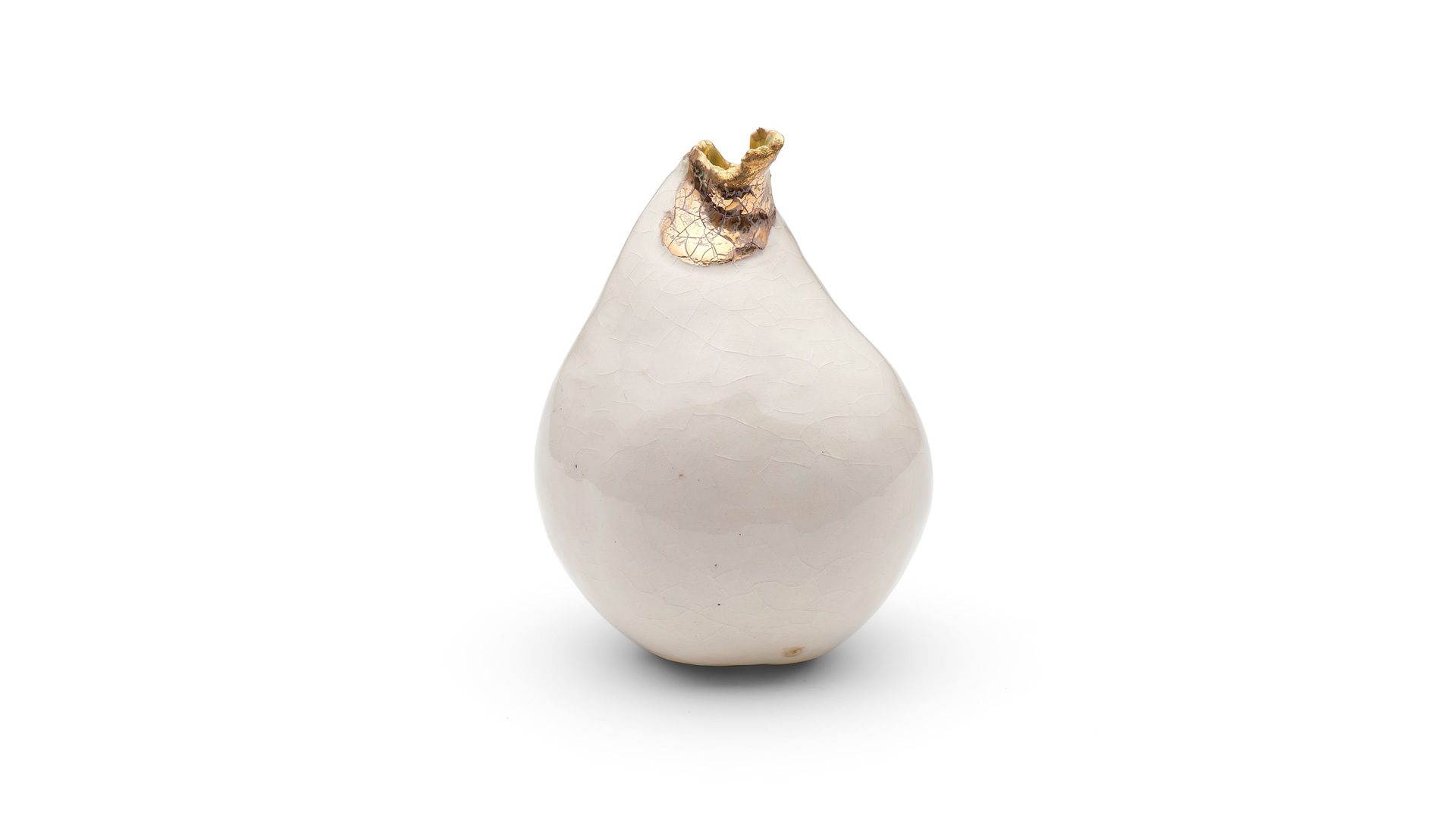 Ceramic pear with Gold Lustre